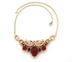 Trifari Alfred Philippe 1949 Necklace Moghul Jewels Collection Red Melon Cut Glass Cabochons, Sapphire Blue Tear Drops, $349