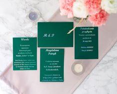 Zielone zaproszenia ślubne ze srebrnym tekstem.    English Green wedding invitation with silver letters