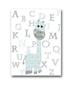 Blue and gray Nursery Alphabet Nursery Giraffe by artbynataera