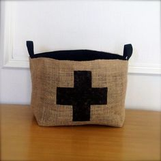 brin and nohl's black swiss cross basket