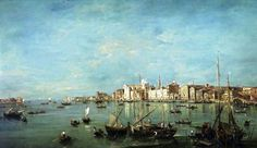 """https://flic.kr/p/mnjzB2   Francesco Guardi - private collection (on long-term loan to the Frick Collection).  View of the Guidecca Canal and the Zattere (c. 1765-1770)   Materials: oil on canvas. Dimensions: 120 x 205.1 cm. Source: <a href=""""http://www.frick.org/exhibitions/loans/departure/guardi"""" rel=""""nofollow"""">www.frick.org/exhibitions/loans/departure/guardi</a>. I have changed the light, contrast and colors of the original photo."""
