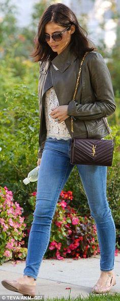 Casually cool: Jenna Dewan Tatum YSL wallet on a chain bag