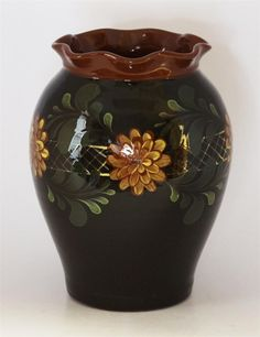 """Eldreth Pottery - 8.5"""" Tall Redware Fluted Crock with Floral Pattern (One of a kind)"""