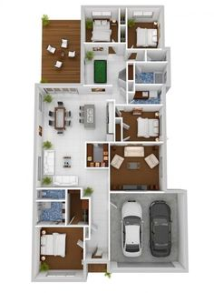 4 Bedroom House Plan Ideas, Four BHK, Home Design, Accommodation, Modern Four Bedroom House Plans, 3d House Plans, Bedroom Floor Plans, House Blueprints, Modern House Plans, Layouts Casa, House Layouts, The Plan, How To Plan