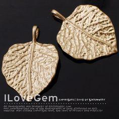 NP-1287 Matt Gold plated Leaf pendant 2pcs por ilovegem en Etsy