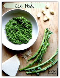Kale Pesto  Ingredients:  Kale – will vary on size. I used 7 stalks. Remove the leaves from the ribs. 1/3 Cup Olive Oil 1/3 Cup Walnuts 1/3 Cup Romano Cheese (shred your own… it tastes better!)