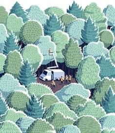 Jon McNaught illustration tree cutters in a forest. Nice mix of patterns. Art And Illustration, Illustration Design Graphique, Illustrations And Posters, New York Times, Ny Times, Guache, You Draw, Grafik Design, Art Design