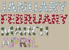 Cross Stitch the Months of the Year! Cross stitch these pretty patterns to make a calendar or kitchen accessory. Find these free patterns and more at Craftown.