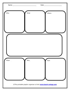 Who, what, when, where, why and how graphic organizer