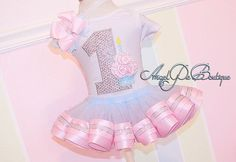 Baby Girl's First Birthday Outfit - No. 1 Applique w/ cupcake. Ribbon Trim Tutu and Hair Bow on Band - Light Pink, Light Blue & Silver on Etsy, $65.00