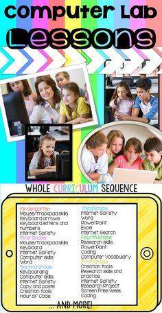 Technology lesson plans and activities for the entire school year for grades K-5. These lesson plans and activities will save you so much time coming up with what to do during your computer lab time. Ideal for a technology teacher or grade level teachers with mandatory lab time. All of the work is done for you!