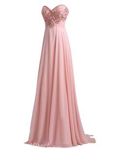 SeasonMall Women's Prom Dress A Line Sweetheart Chiffon With Beading Size 10 US Peach