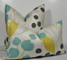 Teal YELLOW Pillow Cover Gray Pillow Pillow Floral Pillow