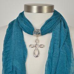 Open Swirl Cross Scarf Jewelry