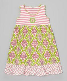 Love this Green & Pink Damask Ruffle Babydoll Dress - Toddler & Girls on #zulily! #zulilyfinds