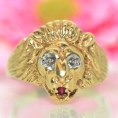 Estate 14k Yellow gold Natural round Ruby & Diamond Lion Head ring band .05ctw by crystalanchor on Etsy