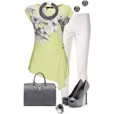 Lime Green Floral Top by marisol-menahem on Polyvore featuring moda, Wallis, 10 Crosby Derek Lam, Yves Saint Laurent, Tiffany & Co. and Honora