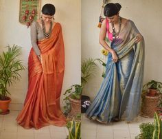 Check out some tips an tricks on how to look stylish in sarees. Cotton Saree Designs, Sari Blouse Designs, Saree Blouse Patterns, Fancy Blouse Designs, Stylish Sarees, Stylish Dresses, Sari Design, Modern Saree, Simple Sarees