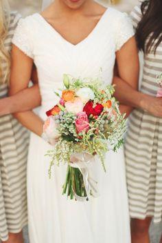 TESSA BARTON: William & Olivia. love the striped bridesmaids dresses!