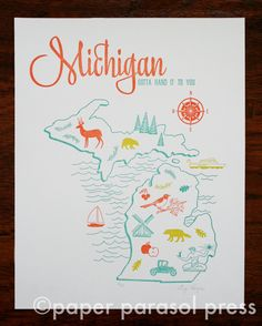 11x14 Michigan Letterpress Print Vintage Travel Inspired. michigan gotta hand it to you. deer. beer. robin. great lakes. compass. auto. windmill. wolverine. pine trees. mitten state.