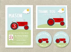 Tractor Birthday Invitation Suite by AdornedHeart on Etsy