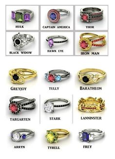 Game of Thrones and Avengers inspired rings
