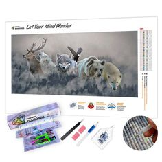 5D DIY Diamond Painting by Number Kit Round Dril Beads Crystal Rhinestone Embroidery Cross Stitch Picture Supplies Arts Craft Wall Sticker Decor White Tiger and Dragon 12x16In