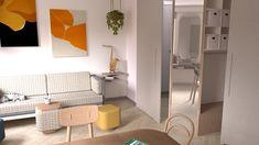 Tiny studio 27 m2 Living Room Designs, Living Rooms, Tiny Studio, Flat Design, Cabinet, Storage, Furniture, Home Decor, Lounges