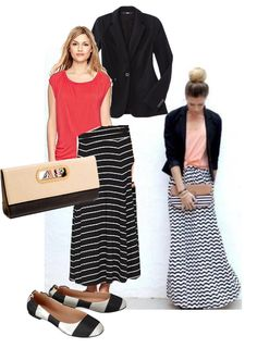 what top to wear with chevron maxi skirt | Four Ways to Wear a Maxi Skirt to the Office - Loop Looks