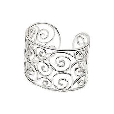 51mm Diamond Open Scroll Cuff Bracelet in Sterling Silver The Black Bow. $1585.00. Crafted from .925 sterling silver. Average weight 81.04 grams. 86 round, 1.0mm, I1 clarity, G-H diamonds. Total diamond weight 3/8 carat