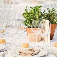 The theme for this month is farmer's market, and we'll be focusing on everything farm-to-table and organic and rustic and generally farm fabulous, alongside our … Sangria Blanca, Fresh Herbs, Potted Herbs, Herb Centerpieces, Dinner Themes, Herb Pots, Farm Birthday, Wedding Details, Wedding Ideas