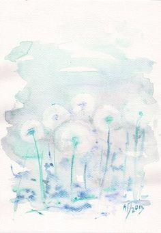 Art Watercolor Painting  Original  flower 8x8 floral by mallalu, $67.00