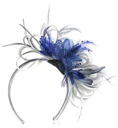 149e971f8bfe5 Caprilite Grey Silver   Royal Blue Fascinator on Headband AliceBand UK  Wedding Ascot Races Loop