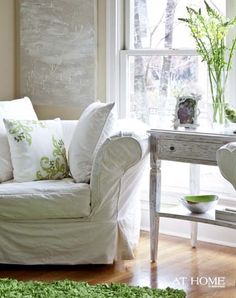So pretty...though I doubt there will ever be a time in my life when a white couch is a good idea. ;)