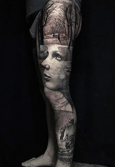 Black and white surrealistic full leg tattoo