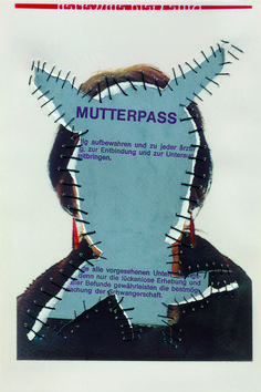 Mutterpass I. Personal Identity 2003-14. Self-portraits with sewn-in original documents, birth certificate, SIM cards.