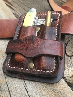 Leather Gear Holster, everyday carry your Pocket Knife, Fisher Bullet Space Pen, credit card Leather Holster, Leather Tooling, Leather Skin, Brown Leather, Knife Sheath, Belt Knife, Tool Pouch, Tool Belt, Space Pen