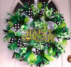 Happy St. Patrick's Day Wreath, Deco Mesh Wreath, St Pat's Day Wreath, Door Wreath, Spring Wreath