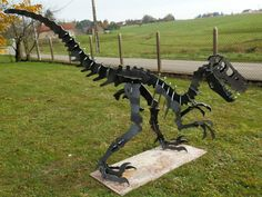 Velociraptor (Raptor) dinosaur giant metal art