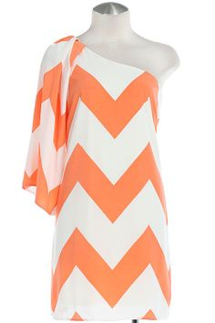 SASSY SORBET Orange White One Shoulder Chevron Dress Shop Simply Me – Simply Me Boutique