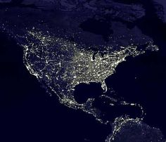 Earth From Outer Space At Night