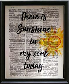 There is sunshine in my soul today. Dictionary Art PrintWall DecorHome DecorUpcycled ArtMixed Media Art PrintBookArt by FancyPantsPrintsCo on Etsy Book Page Art, Old Book Pages, Art Pages, Book Art, Sheet Music Art, Newspaper Art, Daisy Painting, Dictionary Art, Journal Paper