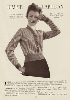 Gorgeous cardigan jumper vintage knitting pattern uploaded by Wayward Sewing. Find the free pattern here: link More Patterns Like This! Knitting Patterns Free, Knit Patterns, Vintage Patterns, Free Pattern, Mode Vintage, Vintage Ladies, Retro Vintage, Knitting Room, Hand Knitting