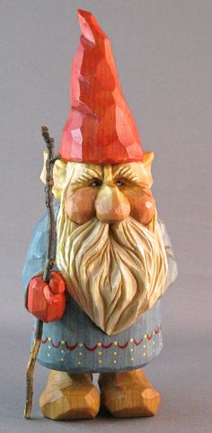 Gisli the hand carved wooden gnome by cjsolberg on Etsy, $125.00