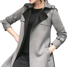 We love it and we know you also love it as well 2017 New Women Fashion Casual turn down collar Long Slim Leather Suede Trench Coat Female Outerwear Ladies Grey Trench Coat B232 just only $32.78 with free shipping worldwide  #womanjacketscoats Plese click on picture to see our special price for you
