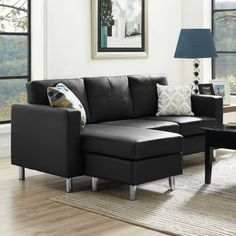 With its black faux leather upholstery and smaller scale, this Dorel Living Small Spaces Configurable Sectional Sofa - Black finally offers a sectional that works in your apartment or smaller scaled home.