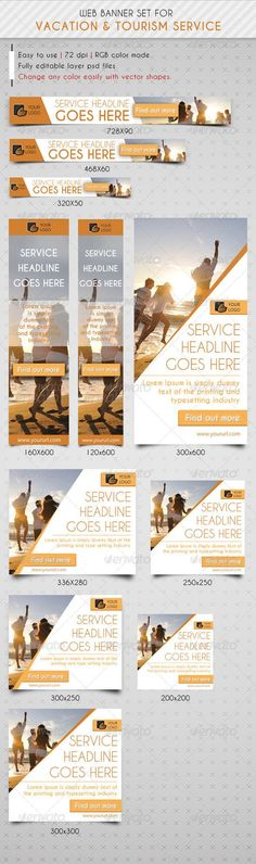 Travel & Vacation Web Banner Ads - Banners & Ads Web #advertising