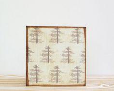 Nursery Art Block l Piney Woods 5x5 wood block  by redtilestudio, $29.00