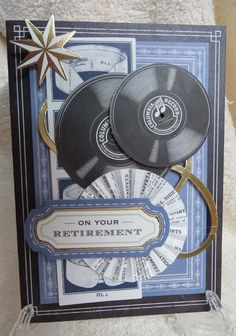 """Made this card using Anna Griffin """"All About Him"""" Card kit and """"For the Boys"""" die cut kit.  This is for my mentor at work who is retiring at the end of the month."""