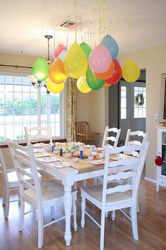 Birthday party idea...drop a piece of candy in the balloon blow it up and it hangs down :)